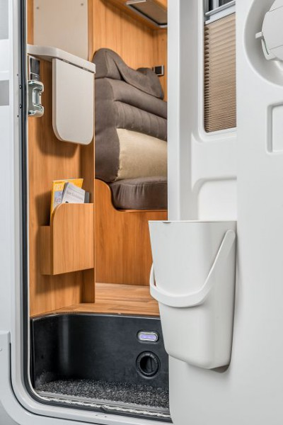 HYMER Mülleimer Creme - Weiß zu Baur Eingangstüren, inkl. Deckel, Bügelgriff und Befestigungen samt Schrauben