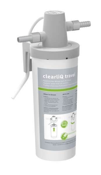 Wasserfilter clearliQ travel, powered by Grünbeck