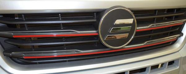 Kühlergrilldekor Chrom/Rot Fiat Ducato